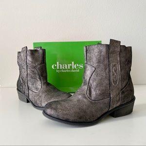 NWT Charles byCharles David Metallic Suede Booties